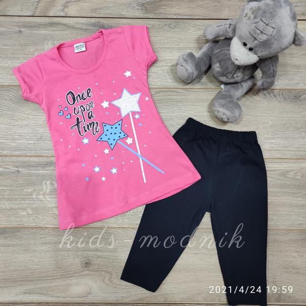 детская одежда недорого Костюм детский летний для девочек -Once upon a time - розового цвета 3-4-5-6 лет