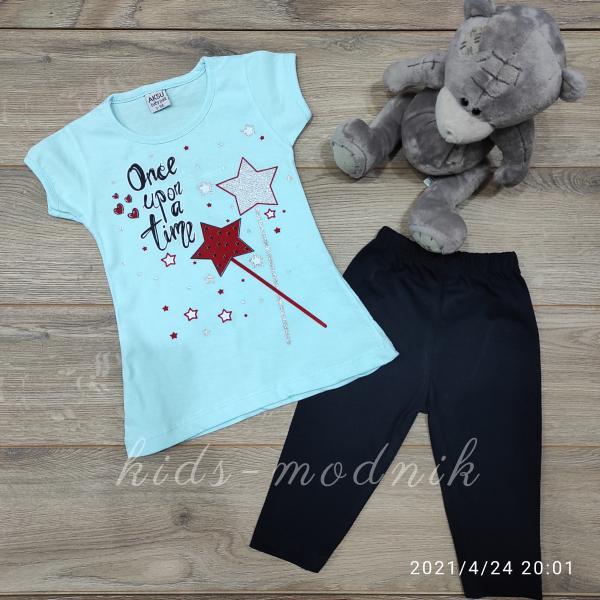 детская одежда недорого Костюм детский летний для девочек -Once upon a time - светло-бирюзового цвета 3-4-5-6 лет