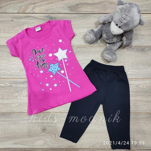 детская одежда недорого Костюм детский летний для девочек -Once upon a time - малинового цвета 3-4-5-6 лет