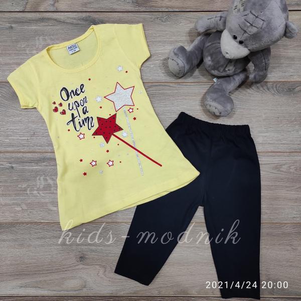 детская одежда недорого Костюм детский летний для девочек -Once upon a time - желтого цвета 3-4-5-6 лет