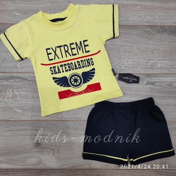 детская одежда недорого Костюм детский для мальчиков с шортами -Extreme- желтого цвета 9-12-18-24 мес