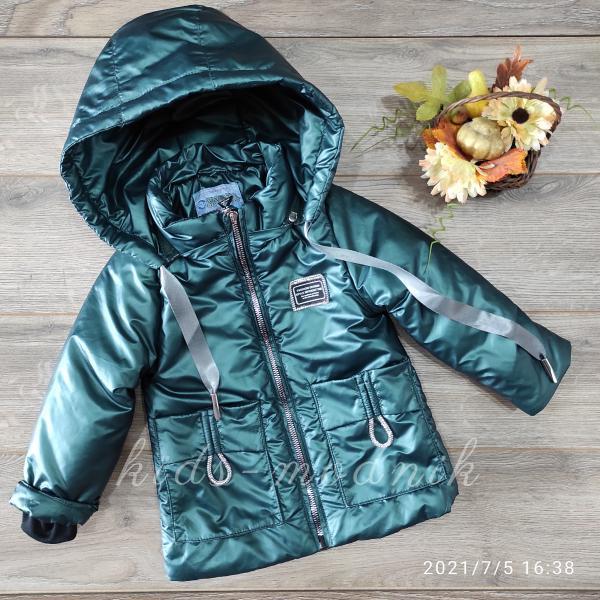 Куртка детская демисезонная для девочек -Fashion Design- изумрудного цвета 2-3-4-5-6 лет