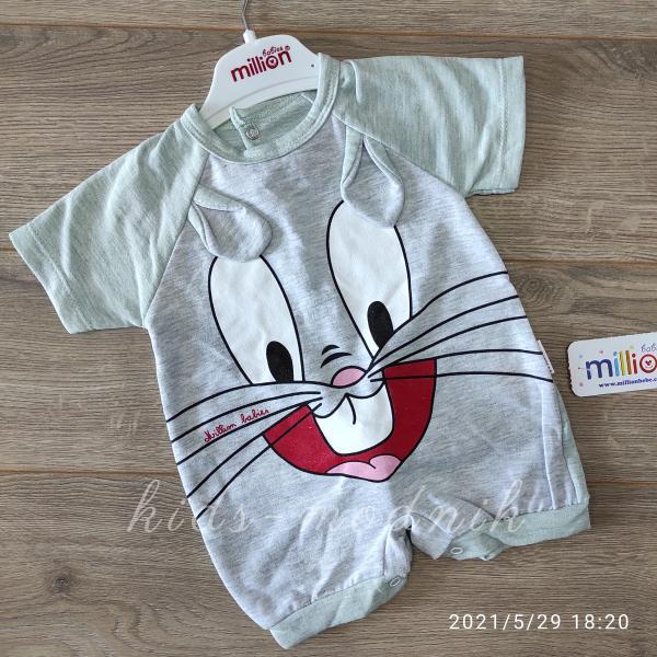 детская одежда недорого Детский трикотажный песочник для малышей -Зайка- фисташкового цвета 3-6-9 мес