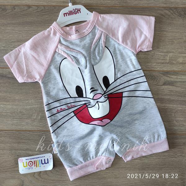 детская одежда недорого Детский трикотажный песочник для малышей -Зайка- светло-розового цвета 3-6-9 мес