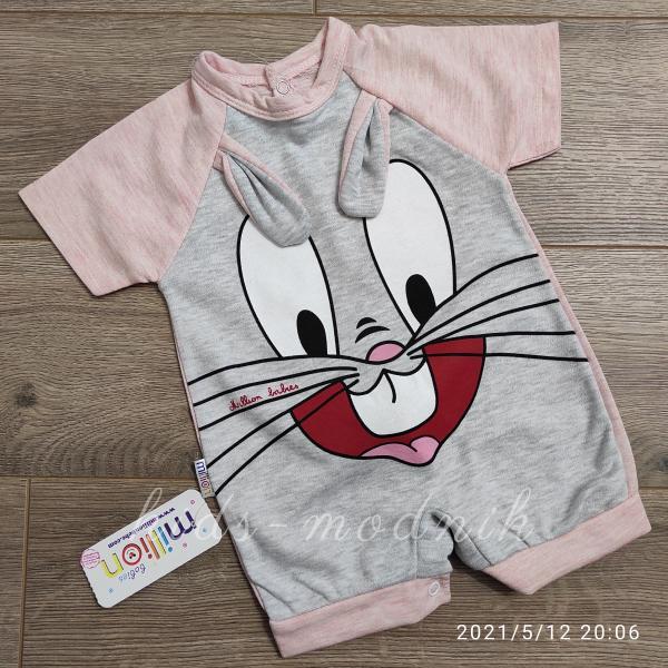 детская одежда недорого Детский трикотажный песочник для малышей -Зайка- персикового цвета 3-6-9 мес