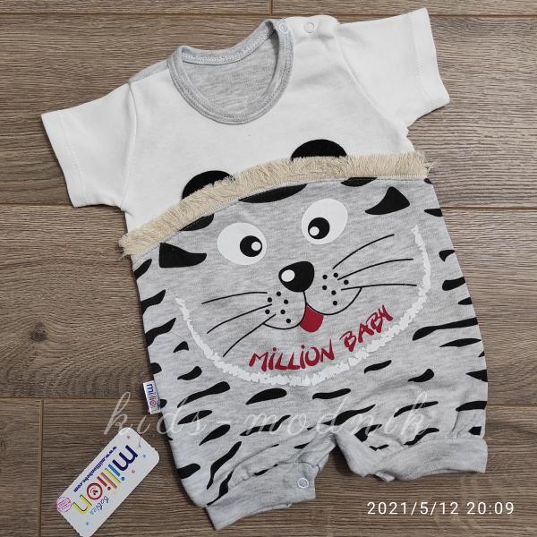 детская одежда недорого Детский трикотажный песочник для малышей -Котенок- светло-серого цвета 3-6-9 мес