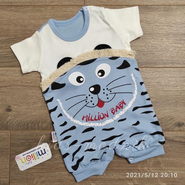 детская одежда недорого Детский трикотажный песочник для малышей -Котенок- голубого цвета 3-6-9 мес