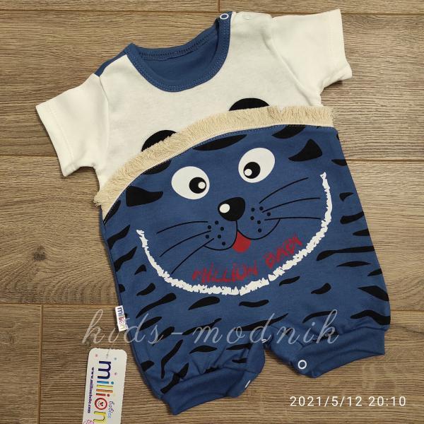 детская одежда недорого Детский трикотажный песочник для малышей -Котенок- темно-синего цвета 3-6-9 мес