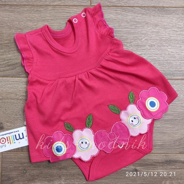 детская одежда недорого Детское трикотажное боди-платье для девочек красного цвета 1-3-6-9 мес
