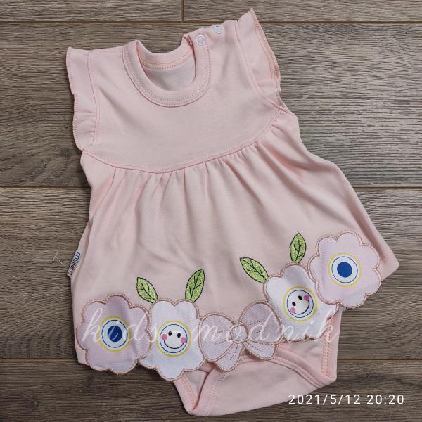 детская одежда недорого Детское трикотажное боди-платье для девочек персикового цвета 1-3-6-9 мес