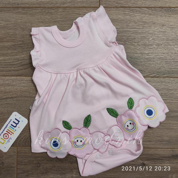 детская одежда недорого Детское трикотажное боди-платье для девочек светло-розового цвета 1-3-6-9 мес