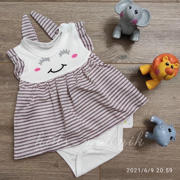 детская одежда недорого Детское трикотажное боди-платье для девочек -Зайка- баклажанного цвета 1-3-6-9 мес