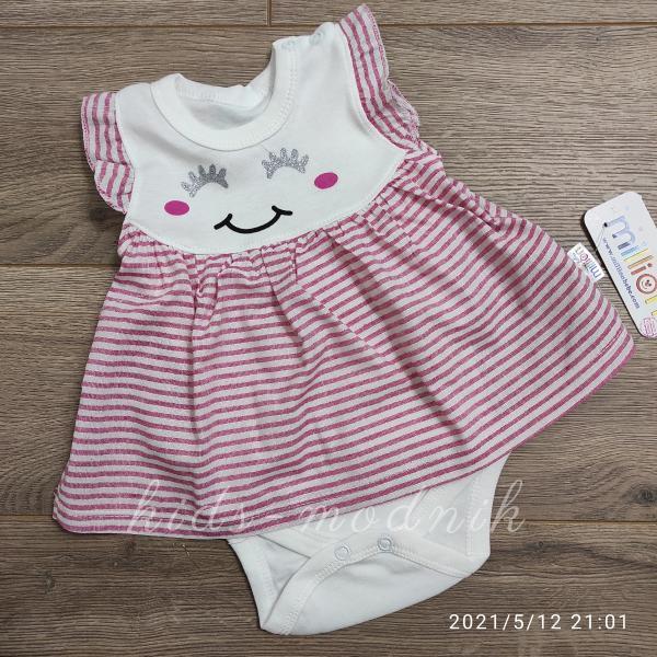 детская одежда недорого Детское трикотажное боди-платье для девочек -Зайка- розового цвета 1-3-6-9 мес