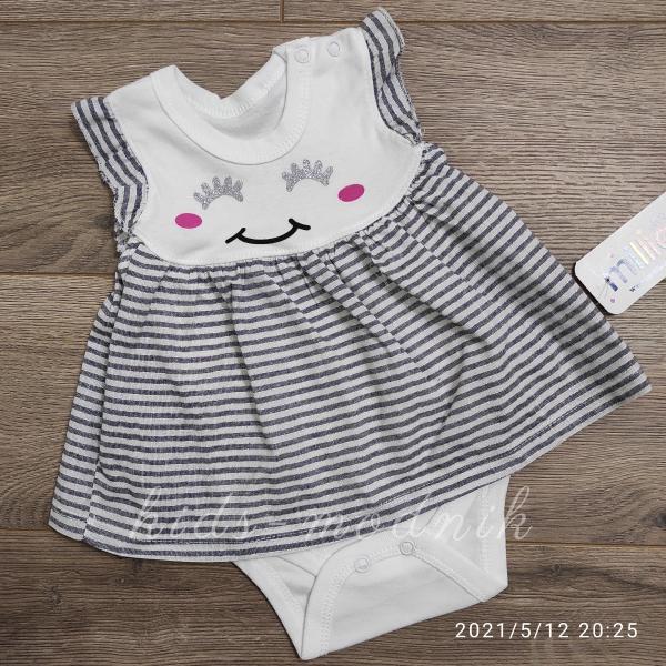 детская одежда недорого Детское трикотажное боди-платье для девочек -Зайка- графитового цвета 1-3-6-9 мес