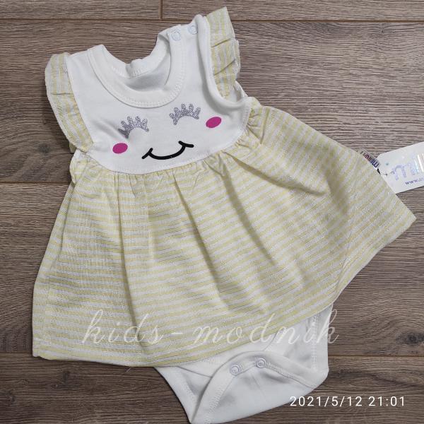 детская одежда недорого Детское трикотажное боди-платье для девочек -Зайка- желтого цвета 1-3-6-9 мес