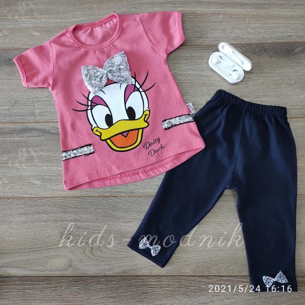 детская одежда недорого Детский летний трикотажный комплект для девочек -Daisy Duck- кораллового цвета 3-6-9-12 мес