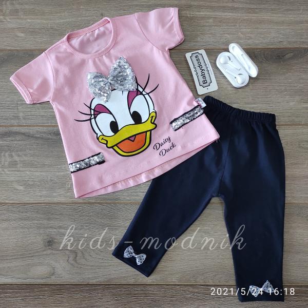 детская одежда недорого Детский летний трикотажный комплект для девочек -Daisy Duck- светло-розового цвета 3-6-9-12 мес