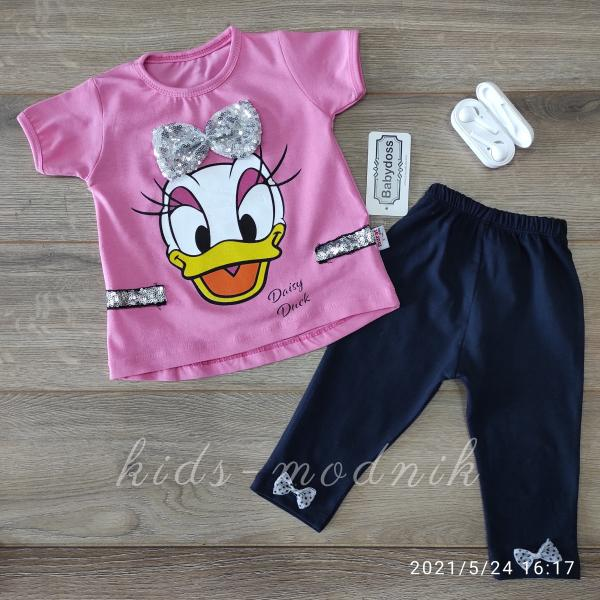 детская одежда недорого Детский летний трикотажный комплект для девочек -Daisy Duck- розового цвета 3-6-9-12 мес