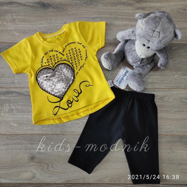 детская одежда недорого Детский летний трикотажный комплект для девочек -Love- желтого цвета 6-9-12-18 мес