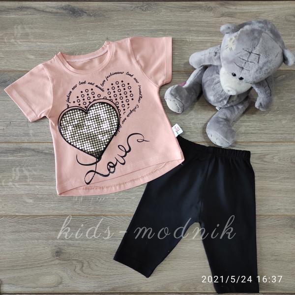 детская одежда недорого Детский летний трикотажный комплект для девочек -Love- персикового цвета 6-9-12-18 мес