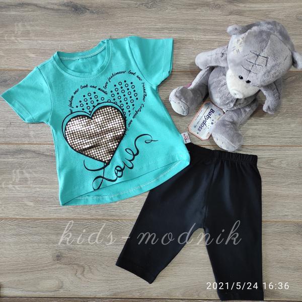 детская одежда недорого Детский летний трикотажный комплект для девочек -Love- бирюзового цвета 6-9-12-18 мес