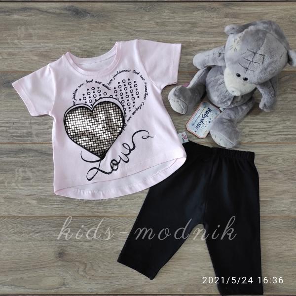 детская одежда недорого Детский летний трикотажный комплект для девочек -Love- светло-розового цвета 6-9-12-18 мес
