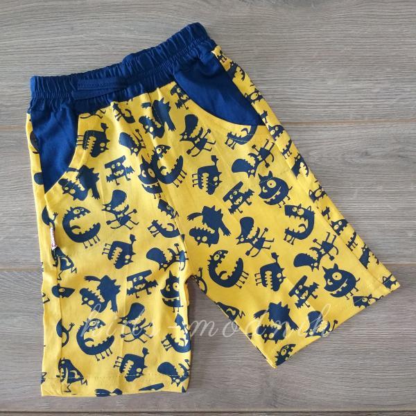 детская одежда недорого Шорты детские трикотажные для мальчиков -Зубки- желтого цвета 5-6-7-8 лет