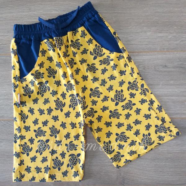детская одежда недорого Шорты детские трикотажные для мальчиков -Черепашки- желтого цвета 5-6-7-8 лет