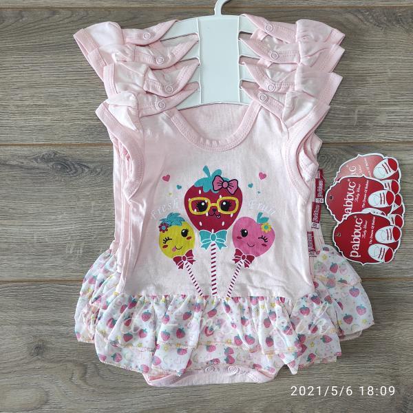 детская одежда недорого Детское летнее боди -Sweetie- светло-персикового цвета 3-6-9-12 мес