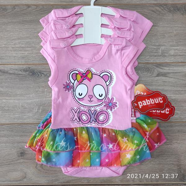 детская одежда недорого Детское летнее боди -XoXo- розового цвета 3-6-9-12 мес