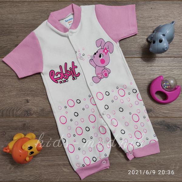 детская одежда недорого Детский ромпер для девочек -Rabbit- розового цвета 3-6-9 мес