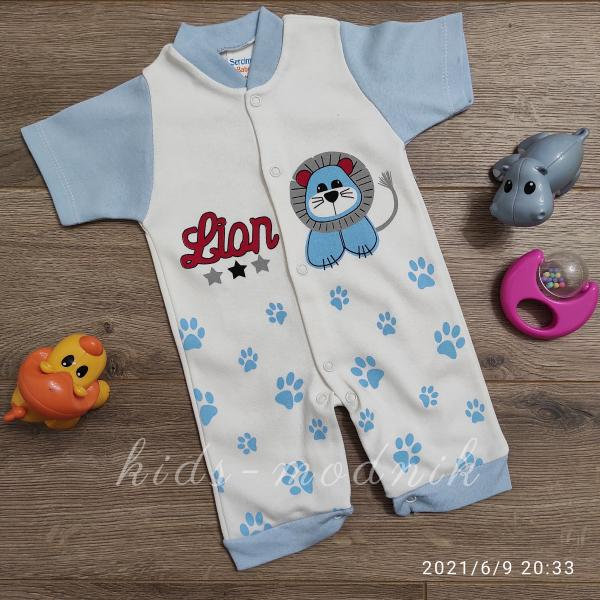 детская одежда недорого  Детский ромпер для мальчиков -Lion- голубого цвета 3-6-9 мес
