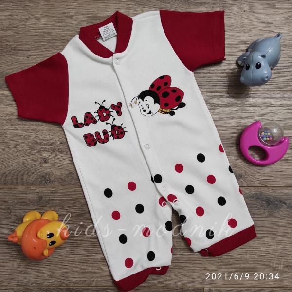 детская одежда недорого  Детский ромпер для девочек -Lady Bug- красного цвета 3-6-9 мес