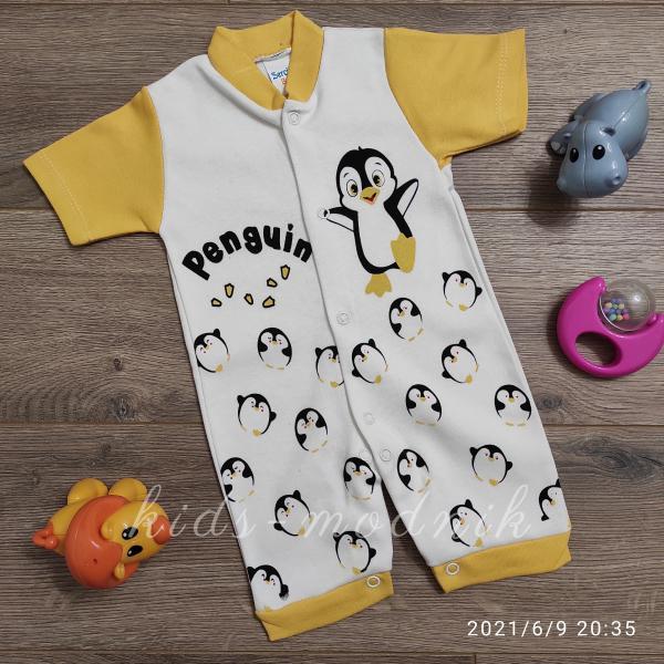 детская одежда недорого  Детский ромпер для мальчиков -Penguin- желтого цвета 3-6-9 мес