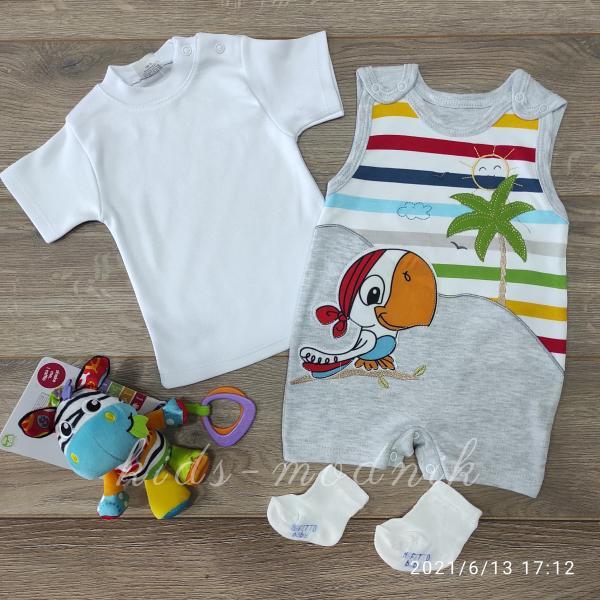 детская одежда недорого Детский трикотажный комплект с носочками  светло-серого цвета на 6 мес