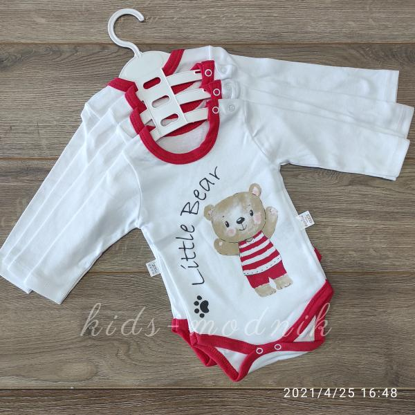 детская одежда недорого Детский трикотажный боди-длинный рукав -Litle Bear- красного цвета 0-3-6-9 мес