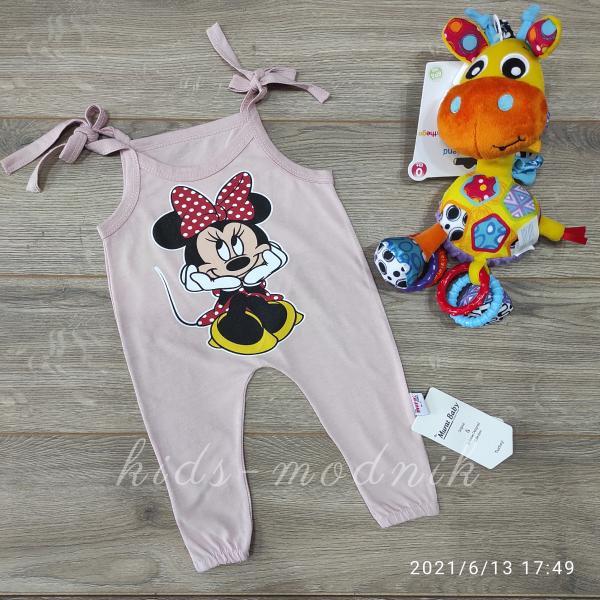 детская одежда недорого Детский летний полу-комбез на завязках -Mini Mouse- цвет мокко 3-6-9-12 мес