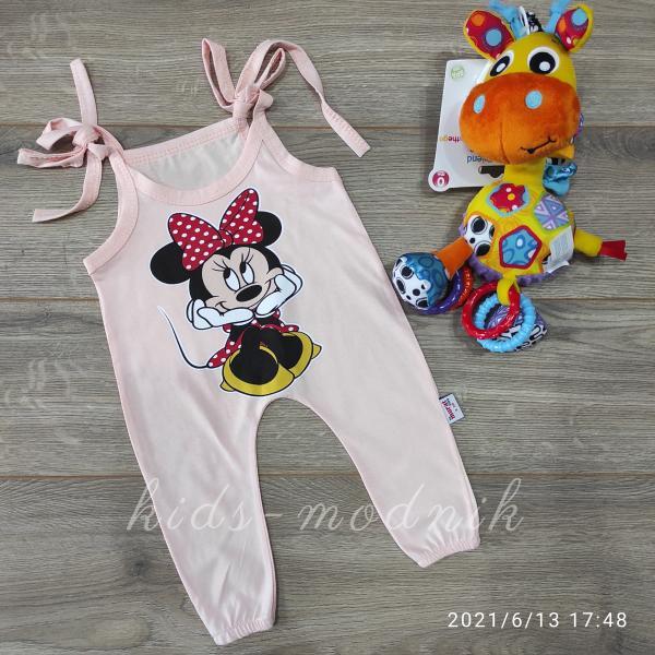 детская одежда недорого Детский летний полу-комбез на завязках -Mini Mouse- светло-персикового цвета 3-6-9-12 мес