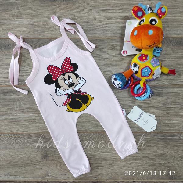 детская одежда недорого Детский летний полу-комбез на завязках -Mini Mouse- светло-розового цвета 3-6-9-12 мес