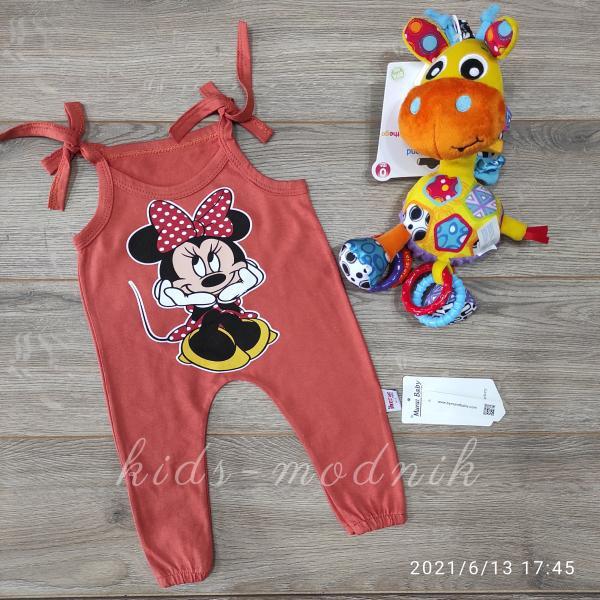 детская одежда недорого Детский летний полу-комбез на завязках -Mini Mouse- кирпичного цвета 3-6-9-12 мес