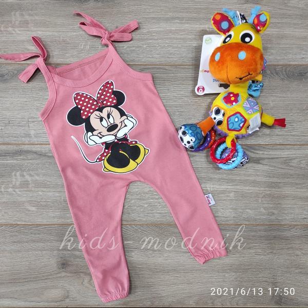 детская одежда недорого Детский летний полу-комбез на завязках -Mini Mouse- персикового цвета 3-6-9-12 мес