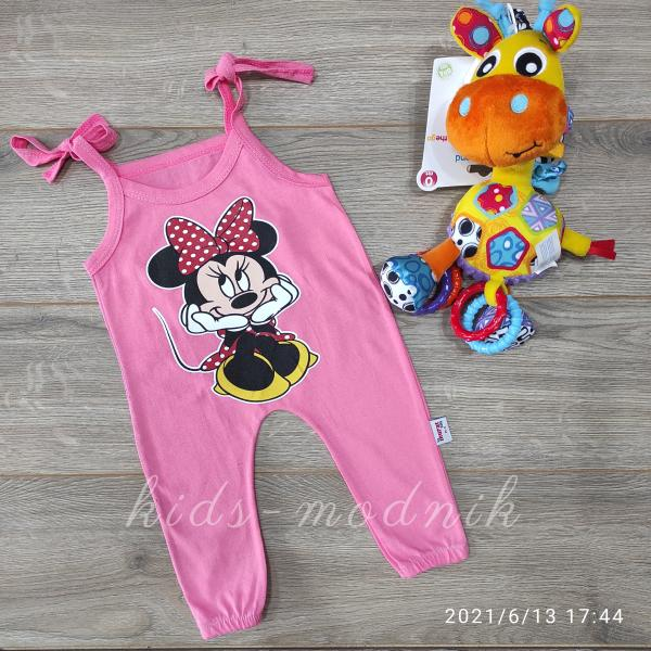 детская одежда недорого Детский летний полу-комбез на завязках -Mini Mouse- розового цвета 3-6-9-12 мес