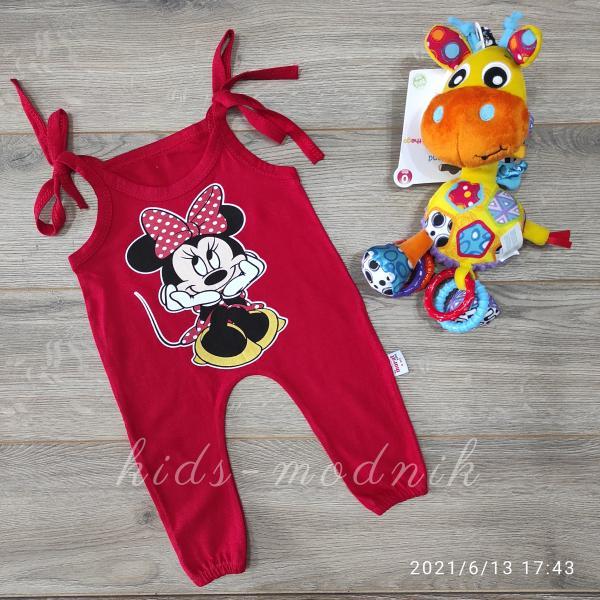 детская одежда недорого Детский летний полу-комбез на завязках -Mini Mouse- красного цвета 3-6-9-12 мес