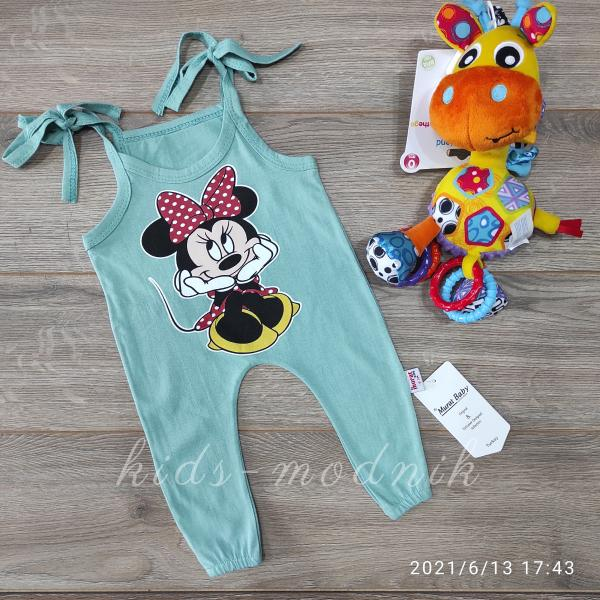 детская одежда недорого Детский летний полу-комбез на завязках -Mini Mouse- фисташкового цвета 3-6-9-12 мес