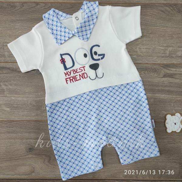детская одежда недорого Детский трикотажный песочник -Dog- голубого цвета 3-6-9 мес