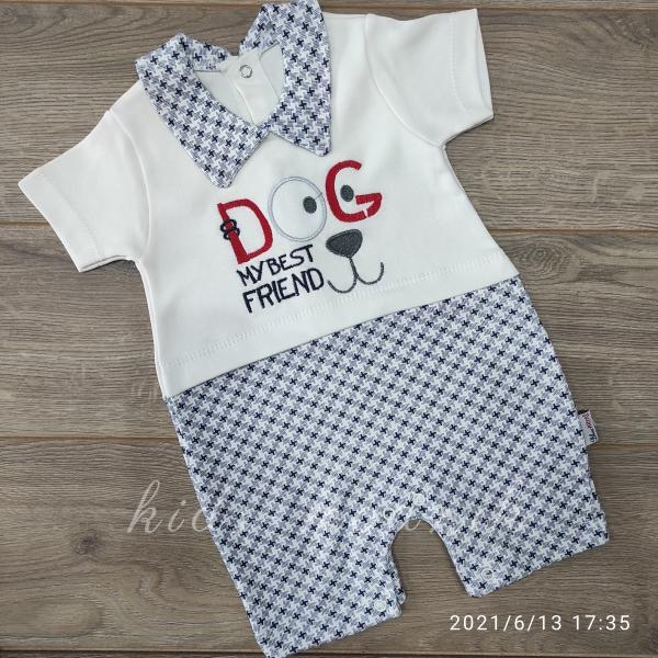 детская одежда недорого Детский трикотажный песочник -Dog- темно-синего цвета 3-6-9 мес