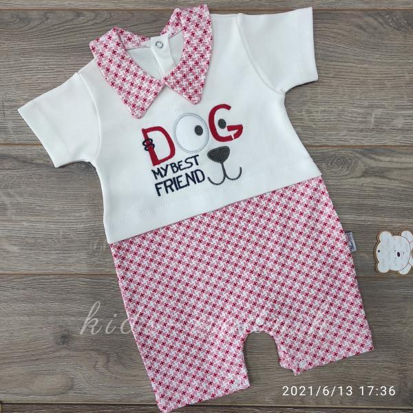 детская одежда недорого Детский трикотажный песочник -Dog- красного цвета 3-6-9 мес