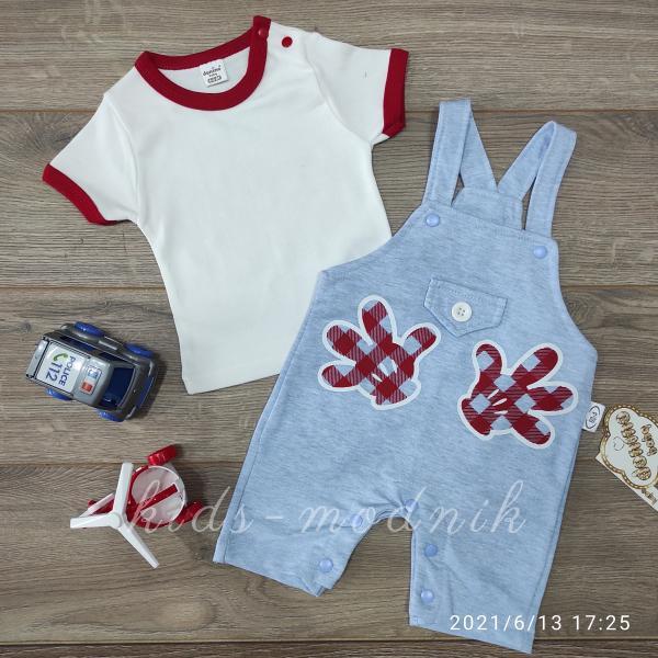 детская одежда недорого Детский трикотажный комплект с футболкой для мальчиков голубого цвета 6-9-12-18 мес