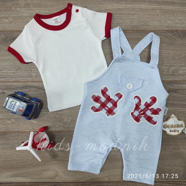 детская одежда недорого Детский трикотажный комплект с футболкой для мальчиков светло-голубого цвета 6-9-12-18 мес
