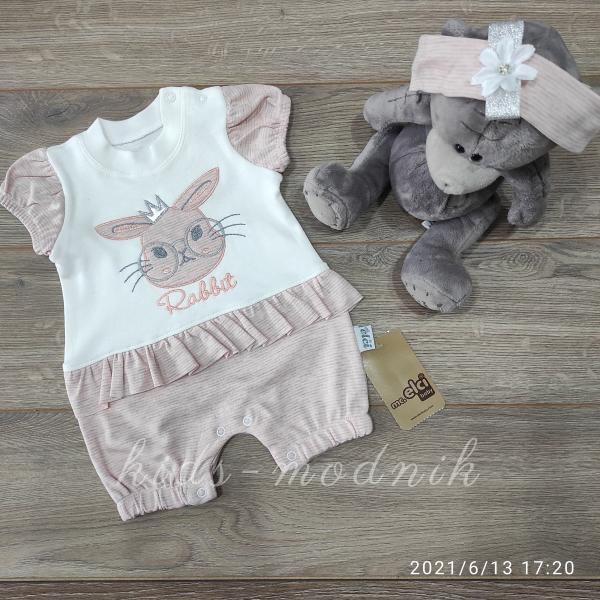детская одежда недорого Детский трикотажный песочник для девочек -Rabbit- персикового цвета 3-6-9 мес